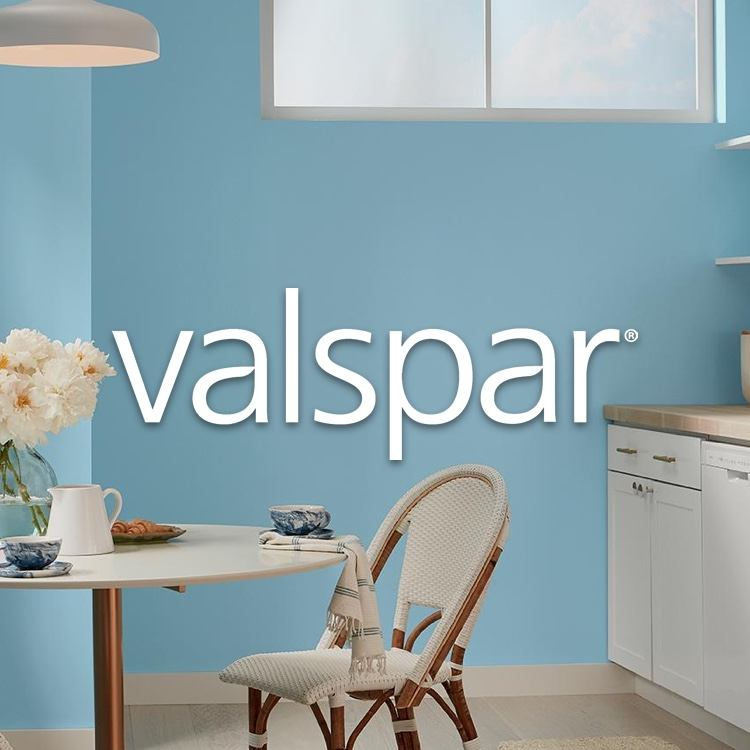 Valspar logo in blue-painted kitchen