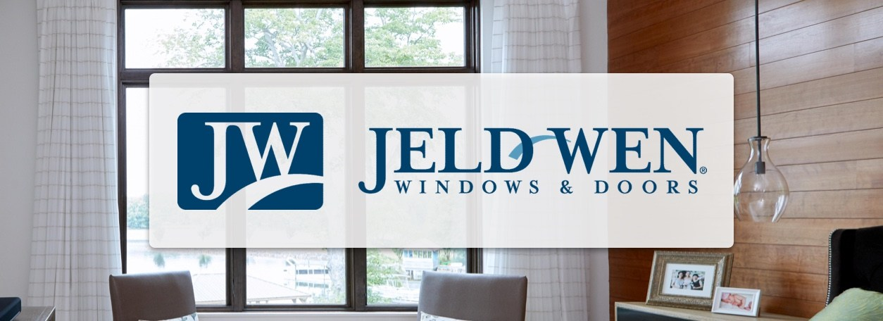Jeld-wen Windows & Doors logo with windows in background