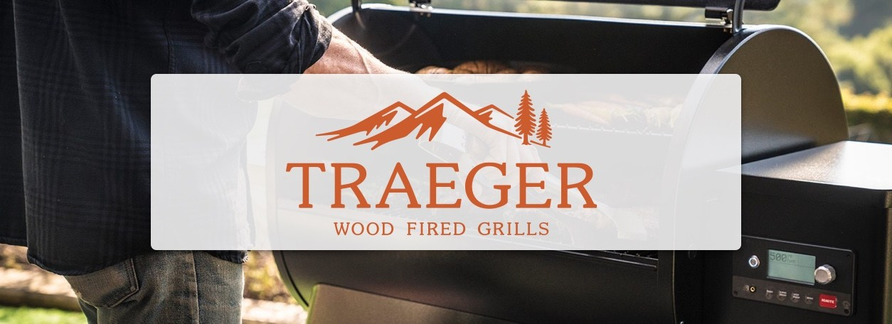 Traeger logo with person grilling on Traeger grill