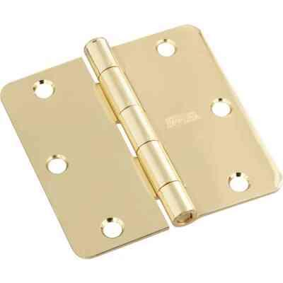 National 3-1/2 In. x 1/4 In. Radius Polished Brass Door Hinge