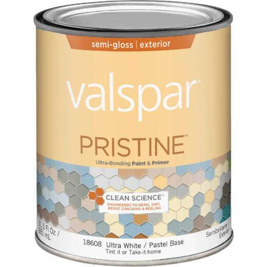 Valspar Pristine 100% Acrylic Paint & Primer Semi-Gloss Exterior House Paint, Ultra White/Pastel Base, 1 Qt.
