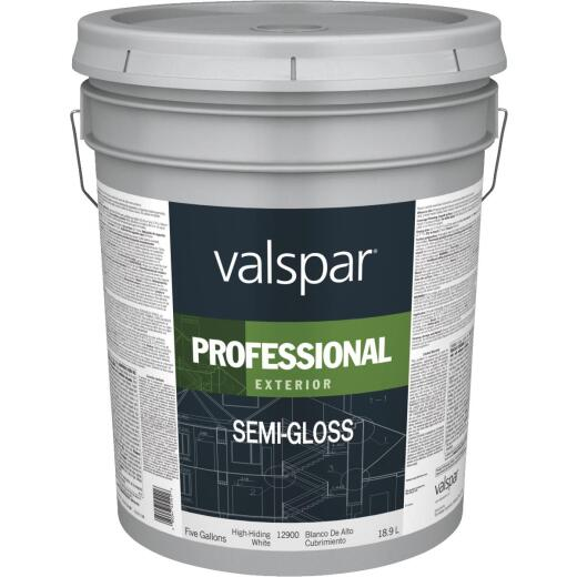 Valspar Professional 100% Acrylic Semi-Gloss Exterior House Paint, White, 5 Gal.