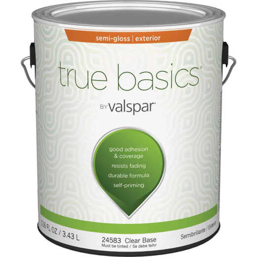 True Basics by Valspar Semi-Gloss Exterior House Paint, 1 Gal., Clear Base